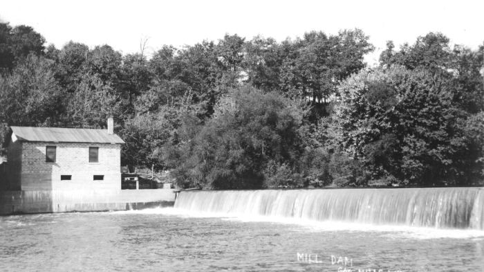 Mill dam at Gays Mill, WI, 1930